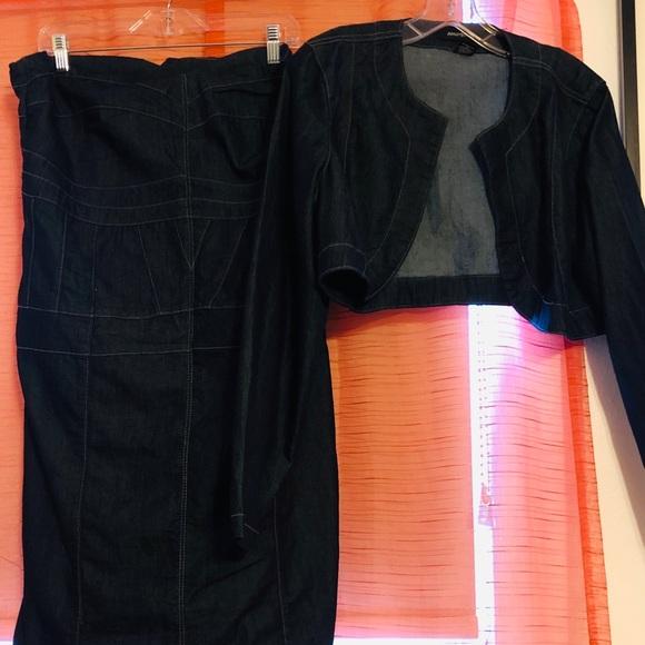 Ashley Stewart Dresses & Skirts - Strapless denim dress w/ jacket